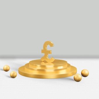Renderização 3d isolada do ícone euro ouro