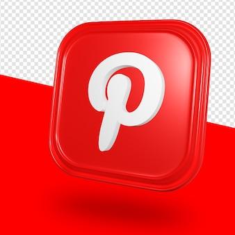 Renderização 3d isolada do logotipo do pinterest