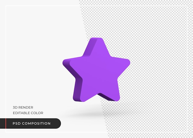 Renderização 3d isolada ícone de estrela