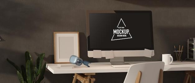 Renderização 3d loft design de interiores de sala de escritório com computador