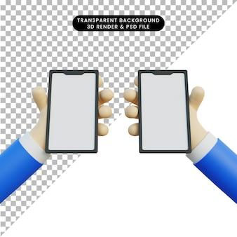 Renderização 3d mão segurando o telefone