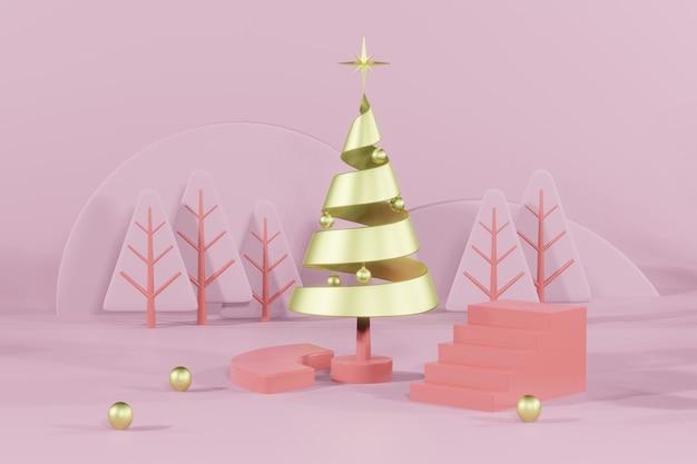 Renderização 3d - maquete de pódio vazio de natal