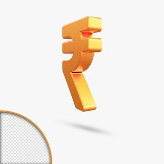 Renderização 3d metallic gold rupee