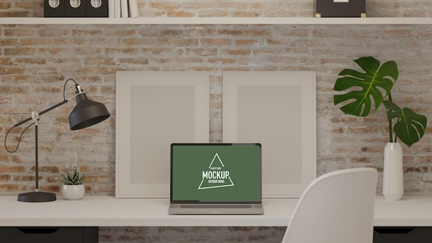 Renderização 3d na sala de home office com simulação de laptop e decoração de quadro