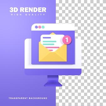 Renderização 3d novo conceito de e-mail com uma notificação.