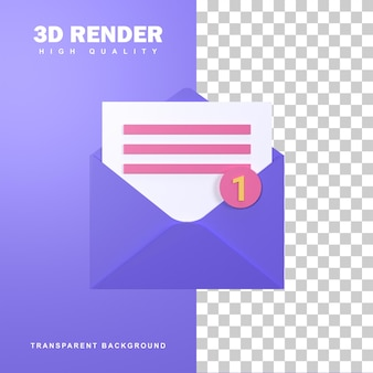 Renderização 3d novo conceito de mensagem com uma notificação.
