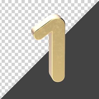 Renderização 3d número 1 dourado