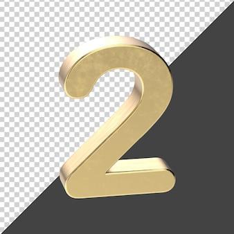 Renderização 3d número 2 dourado