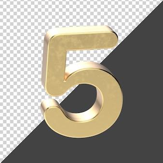 Renderização 3d número 5 dourado