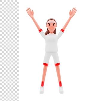 Renderização 3d ou ilustração menina atleta