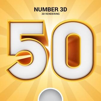 Renderização 3d ouro número 50