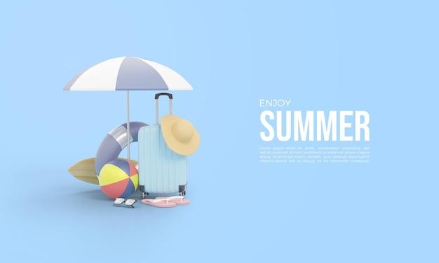 Renderização 3d para horário de verão com equipamento de férias