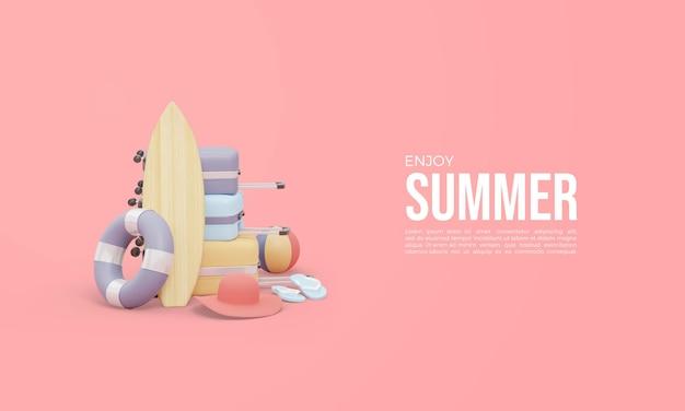 Renderização 3d para horário de verão com equipamento de surf