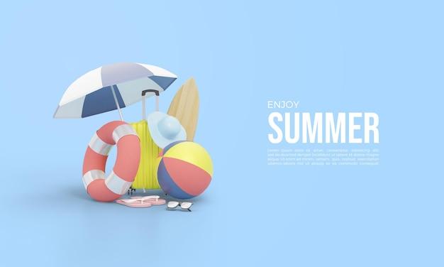 Renderização 3d para o horário de verão com grandes carros alegóricos e bolas sob um guarda-chuva