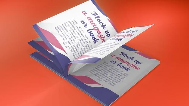 Renderização 3d para o livro aberto de mockup