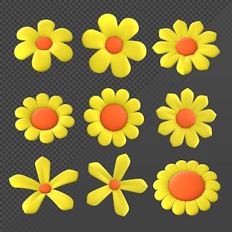 Renderização 3d pequenas flores amarelas com número diferente de pétalas