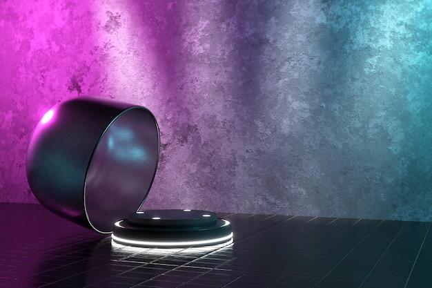 Renderização 3d pódio realista para exibição de produtos