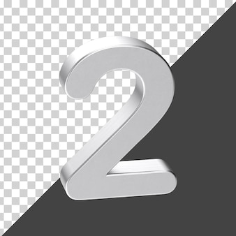 Renderização 3d prata número 2