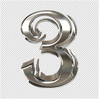 Renderização 3d prata número 3