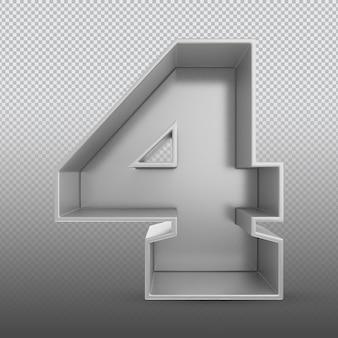 Renderização 3d prata número 4