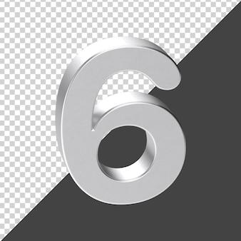 Renderização 3d prata número 6