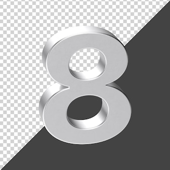 Renderização 3d prata número 8