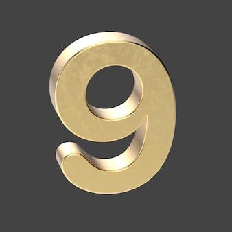 Renderização 3d prata número 9