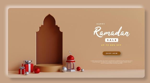 Renderização 3d ramadan kareem sale psd