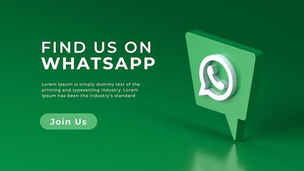 Renderização 3d realista com logotipo do whatsapp isolado