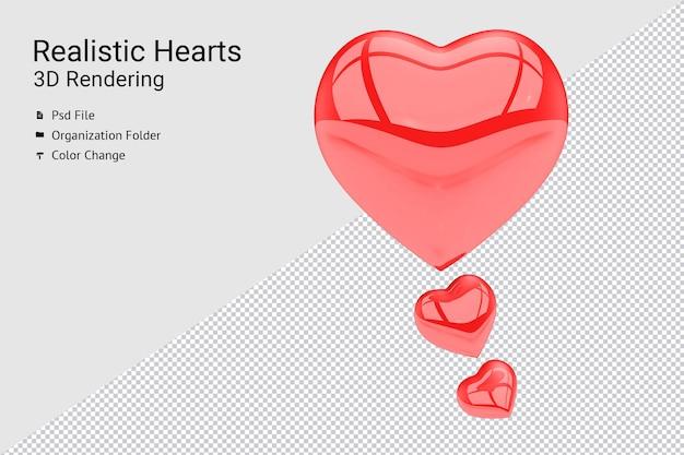 Renderização 3d realista de balão de coração