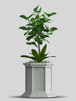 Renderização 3d realista de vaso de planta isolada