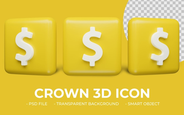 Renderização 3d realista do ícone do cifrão