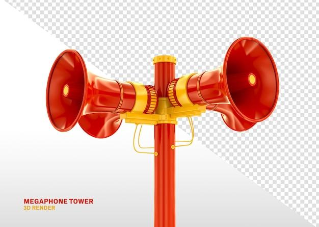 Renderização 3d realista vermelha da megaphone tower isolada