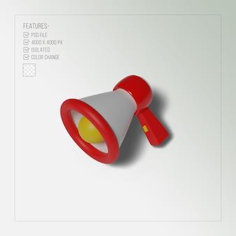 Renderização 3d realista vermelha megafone isolada