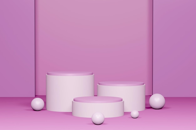 Renderização 3d rosa pódio para colocação de produtos