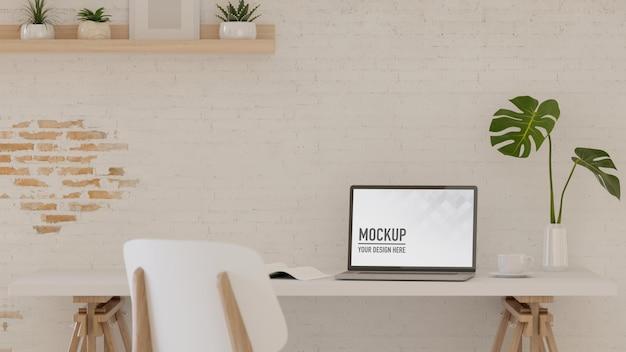 Renderização 3d sala de escritório em casa com vaso de planta para laptop e decorações ilustração 3d