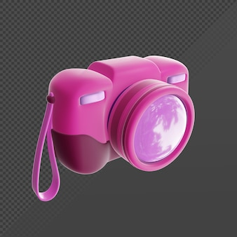 Renderização 3d simples ícone rosa câmera