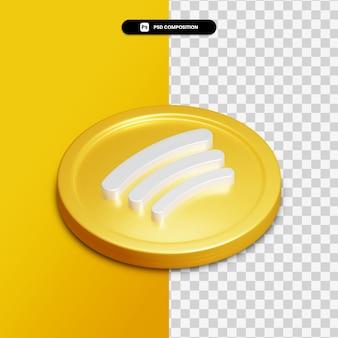 Renderização 3d spotify ícone no círculo dourado isolado