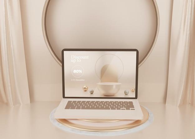 Renderização 3d surreal de plataforma de laptop de exibição em pastel