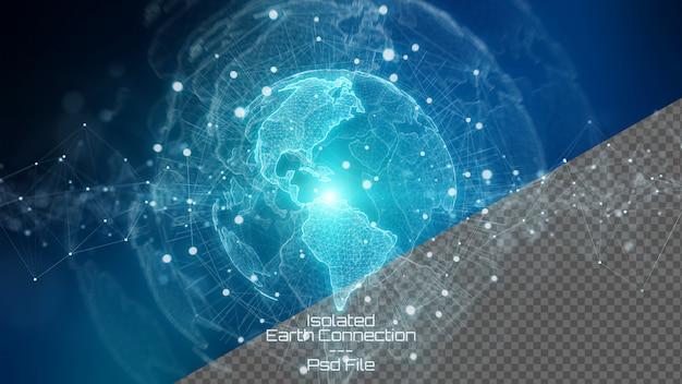 Renderização 3d terra do planeta com elementos cortados isolados no azul