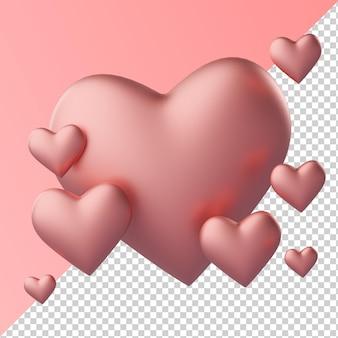 Renderização 3d transparente com formato de amor rosa