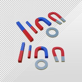 Renderização 3d vários tipos de ímãs u anel de barra de tubo em ferradura vermelho e azul pólo norte e sul