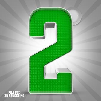 Renderização 3d verde número 2