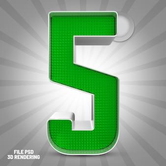 Renderização 3d verde número 5