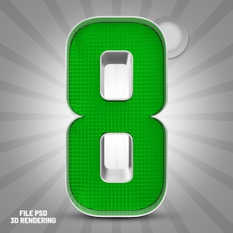 Renderização 3d verde número 8