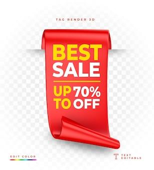 Renderização 3d vermelha de tag best sale isolada