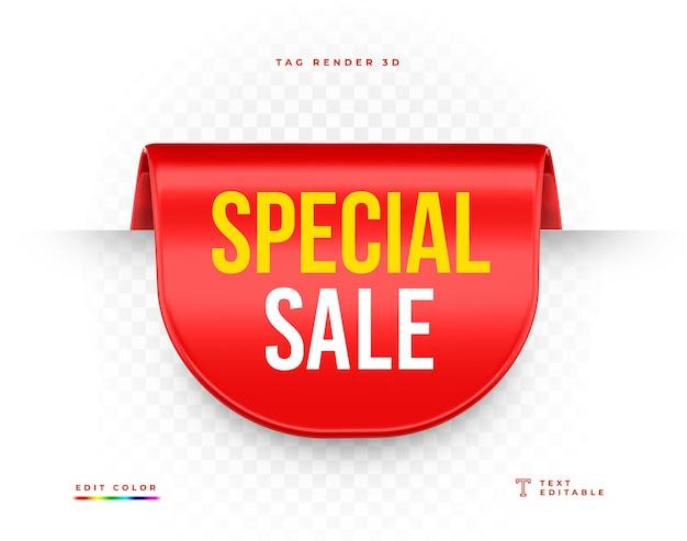 Renderização 3d vermelha de venda especial de tag isolada