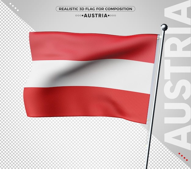 Renderização da bandeira 3d da áustria isolada