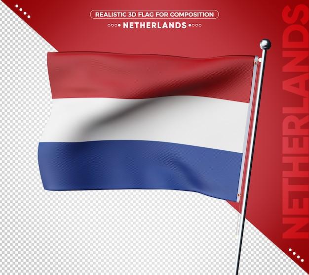 Renderização da bandeira 3d da holanda isolada