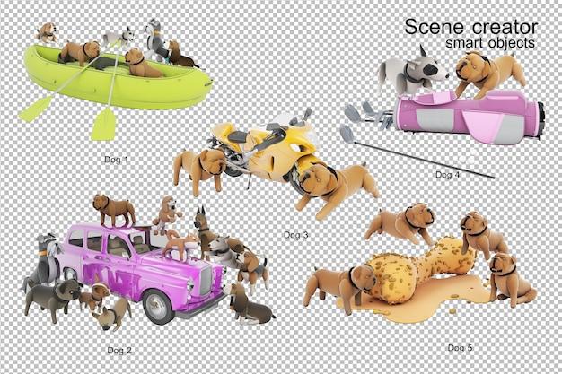 Renderização da ilustração 3d da atividade do cão